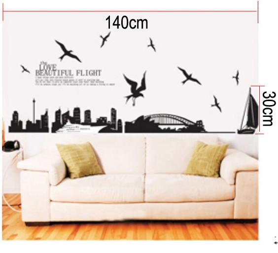 Xy 1003 sydney australia skyline city wall stickers decorative decor decal removable vinyl room decor wall stickers room decoration stickers from e storms
