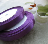 "Wholesale Ivory Ribbon Roll - 10 Rolls 3 8""(10mm) Purple Satin Ribbon Wedding Party Craft Sewing Decorations (1 Roll 25yds)"