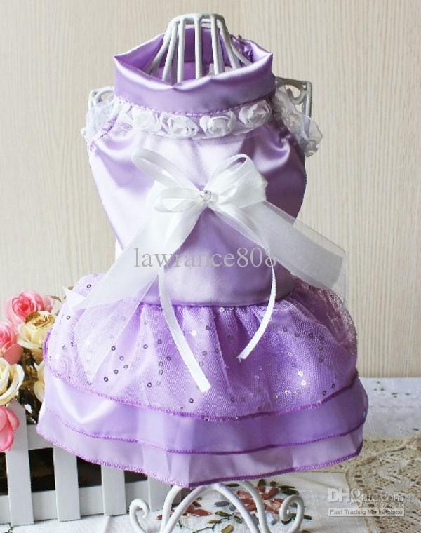 Novos Roupa para animal de estimação Roupas de verão para animais de estimação Vestido de casamento para animais de estimação Vestido de princesa rosa, branco, roxo