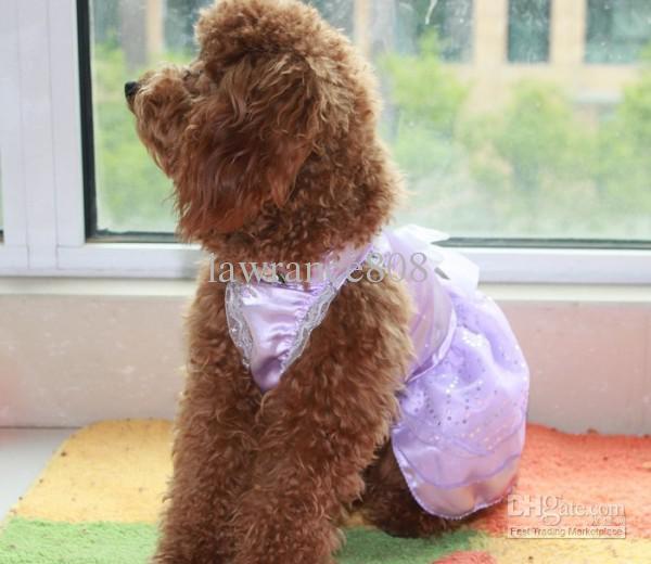 Roupas para animais Vestido Saia Roupas Vestuário Pet Dog Vestido de noiva rosa, branco, roxo tamanho Xs S M L XL
