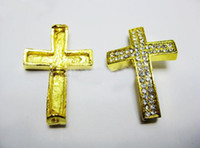 Wholesale Side Ways Cross Gold - Free shipping Gold Plated Curved Side Ways Double white Crystal Rhinestones Cross Bracelet Connector Charm Bead