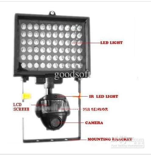 2018 motion activated camera security lights led video camera pir motion activated camera security lights 60pcs led video camera pir sensor for automatic flood light aloadofball Image collections