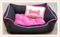 casas de perro gratis al por mayor-Gratis, envío, cama de perro rosa, cama de gato, casa de mascotas, cama de mascota (almohada de hueso pequeño) S / M / L