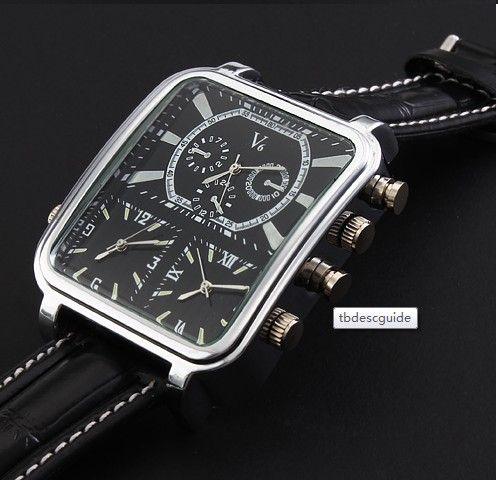 V6 relógio de couro relógio de pulso para o homem novo design de moda presente relógio frete grátis