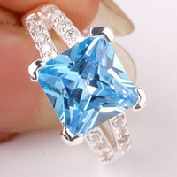 Wholesale Women Blue Topaz Wedding Ring - Cute 9x9mm Square Stone Princess Cut Blue Topaz Silver Rings for Women Wedding Jewelry Multiple Sizes & Colors for Choice R026