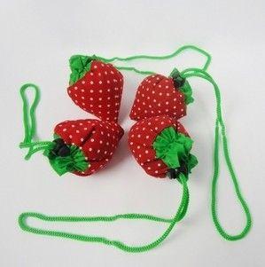 Lovely Strawberry Bag Foldable Shopping Bag Strawberry Bag Cute Novel Gift High Quality 200pcs/lot
