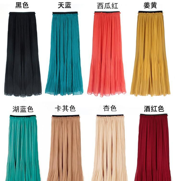 2017 Women Lady Girls Chiffon Pleated Long Skirt Elastic Waistband ...