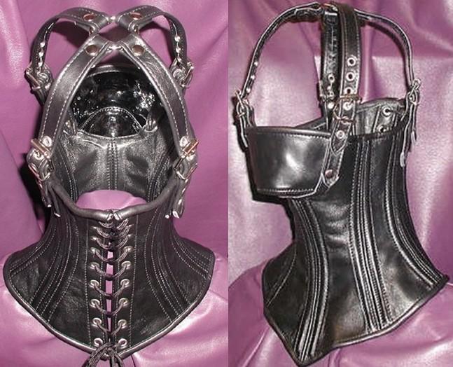 Großhandel - Leder PVC Bondage Stütze Hood mit verbundenen Augen / schöne Vollmaske / Sex-Spielzeug