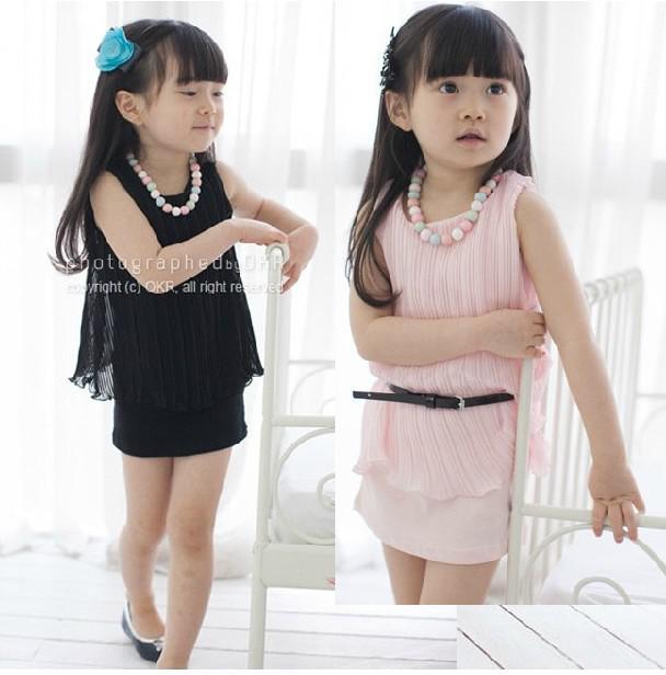nouveaux enfants filles gilet sans manches plissé col rond princesse monoblocs jeux d'enfant costume jupe robe avec ceinture QZ33