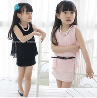 Wholesale Round Neck Belted Dress - 2016 new children girls round-neck pleated sleeveless vest princess one-piece dress skirt suit kid sets with belt QZ33