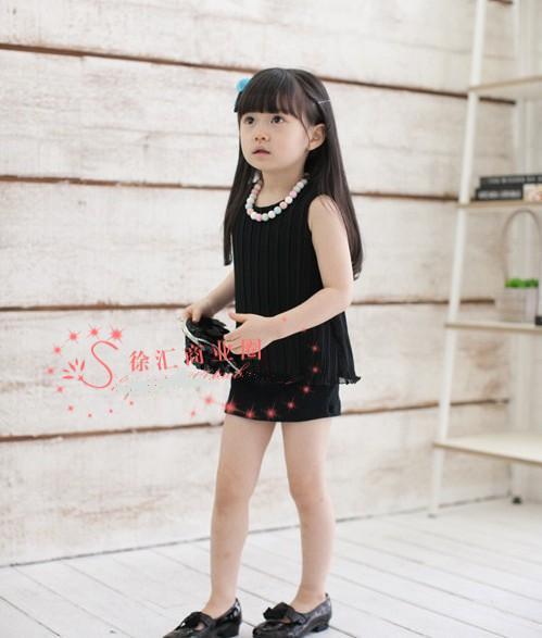neue Kinder Mädchen Rundansatz faltete sleeveless Weste Prinzessin einteiliges Kleid Rockklage Kind-Sets mit Gürtel QZ33