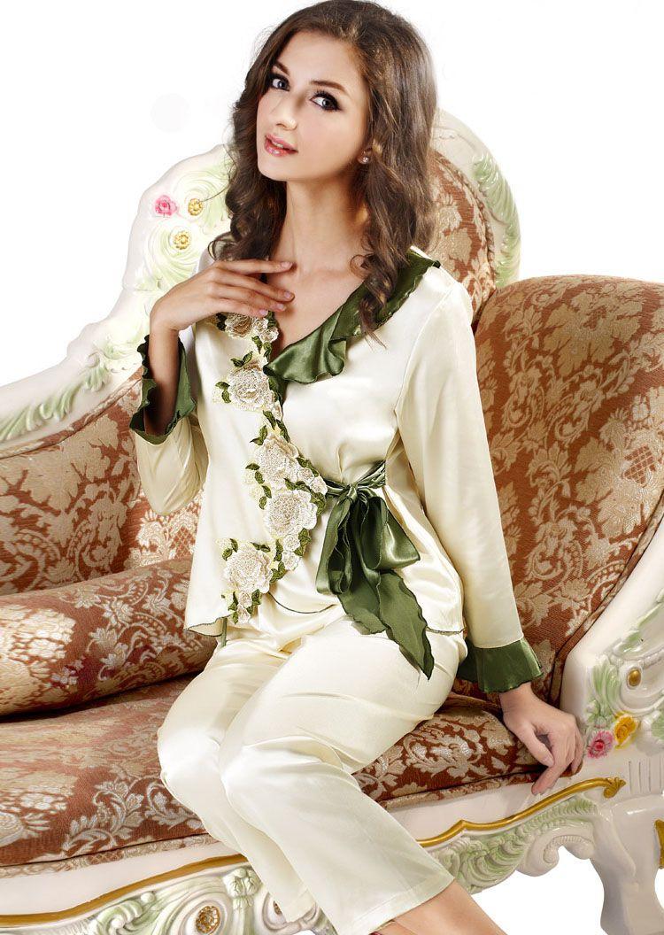 2019 Sexy Womens Sleepwear Women Silk Satin Pajama Sets