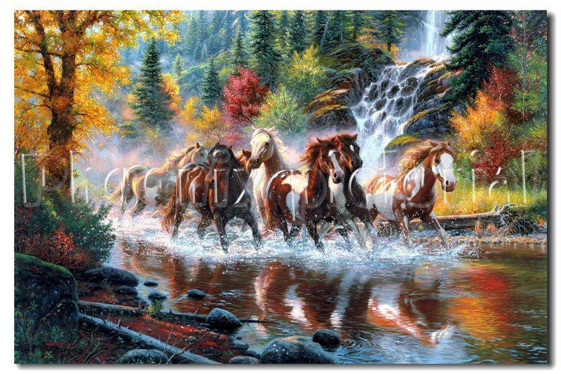 2019 Hot Selling HD Print Oil Painting On Canvas Horse ...