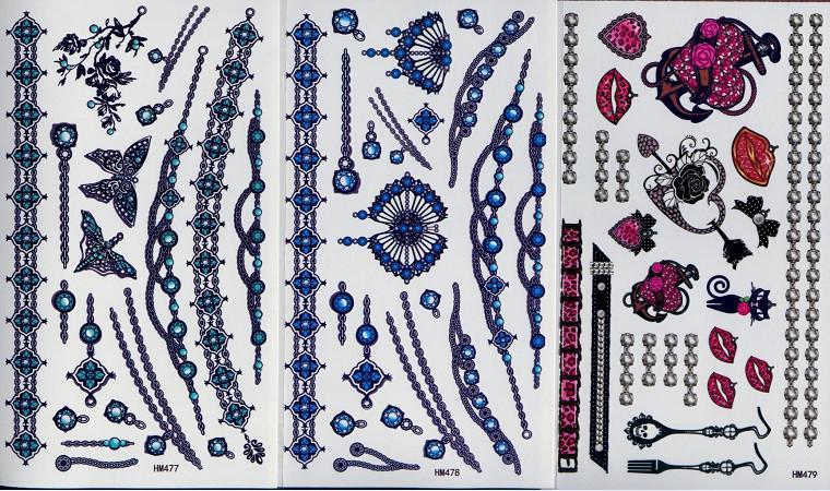 100 teile / los Temporäre Tätowierungen Tattoo Aufkleber Für Körperkunst Malerei Wasserdichte Neue Designs 206 * 105mm