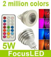 Wholesale Spot Led 12v 5w - 5W RGB LED Bulbs Light E27 E14 B22 MR16 Led Spot Light Lamps AC 85-265V + 20keys ir remote control