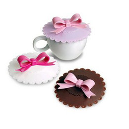 Wholesale Sweet Silicone Cup - Sweet Bow Silicone Anti - Skid Water leak Cup Cover Tea Mug Cup Lid Mug