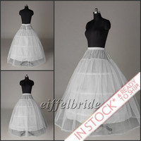 Wholesale Net Wedding Petticoats - In Stock Bridal Petticoat Underskirt 1-Layer 3-hoop White Net Crinoline Going with Wedding Dress