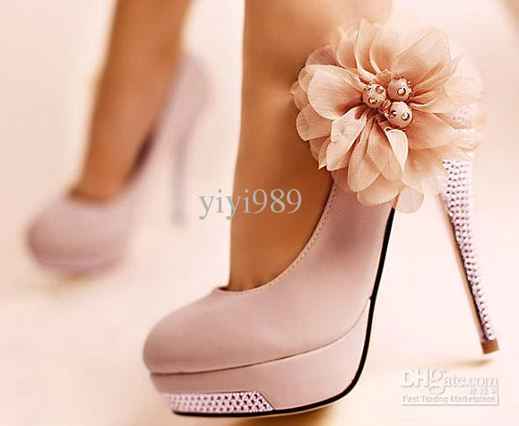 Pink Wedding Shoes Bridal Diamond Platform High Heel Lace Flowers