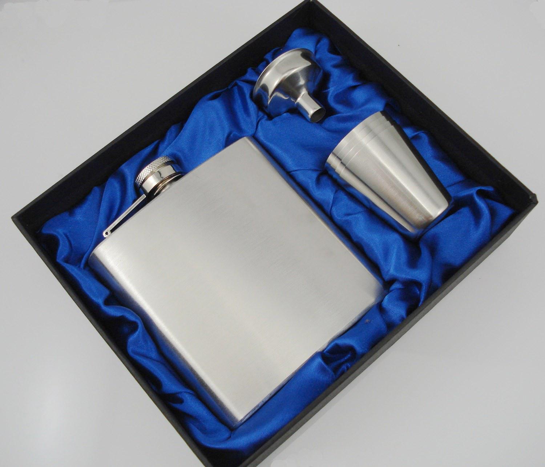 venta al por mayor frasco de acero inoxidable de 6 oz con 4 tazas y un embudo en caja de regalo forrada de seda negra, juego de regalo, grasa