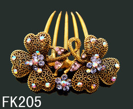 Hair Comb Flower Pink Canada - vintage hair jewelry flower crystal rhinestone alooy hair combs hair Hair Accessories 12pcs lot mixed color FK205