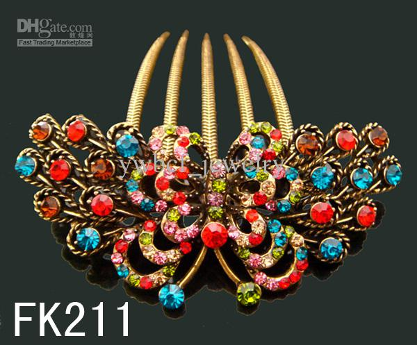 Wholesale hot sell Vintage hair jewelry rhinestone Butterfly hair combs Hair Accessories Mixed colors FK211