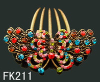 Wholesale hair tin - Wholesale hot sell Vintage hair jewelry rhinestone Butterfly hair combs Hair Accessories Free shipping 12pcs lot Mixed colors FK211