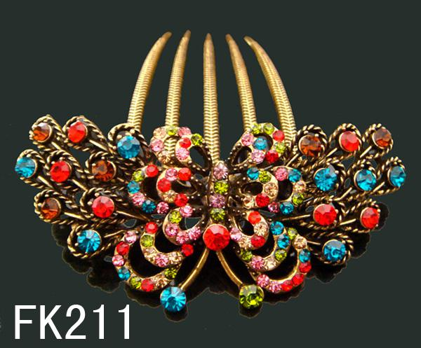 Wholesale hot sell Vintage hair jewelry rhinestone Butterfly hair combs Hair Accessories Free shipping 12pcs/lot Mixed colors FK211
