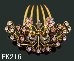 $enCountryForm.capitalKeyWord Canada - Wholesale hot sell Vintage hair jewelry Butterfly rhinestone hair combs Hair Accessories Free shipping 12pcs lot Mixed colors FK216