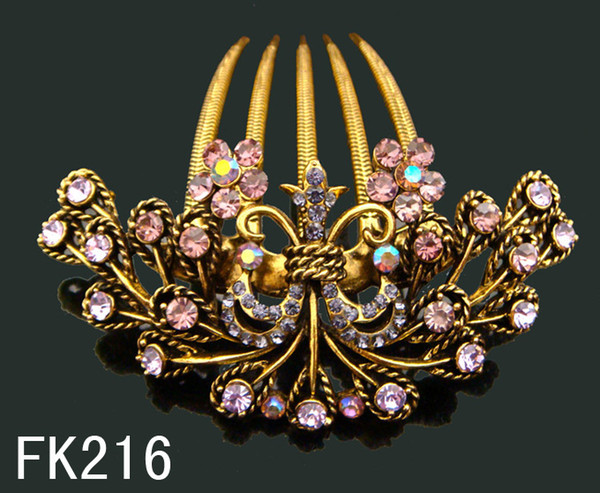 Wholesale hot sell Vintage hair jewelry Butterfly rhinestone hair combs Hair Accessories Free shipping 12pcs/lot Mixed colors FK216