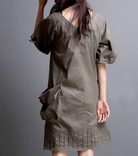 Fashion Women Summer 2015 New Dress Front and Back Sexy V-neck Black Khaki Color was Thin Large Pockets Plus Size Casual Dress L-XXXXL
