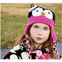 chapéu da criança do crochet da coruja venda por atacado-20pcs Handmade Crochet Gorro chapéus Crocheted Hat bebê chapéu coruja do bebê de crochê infantil malha recém-nascido