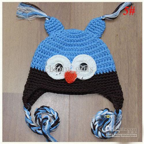 유아 올빼미 EarFlap 크로 셰 뜨개질 모자 아기 수제 크로 셰 뜨개질 OWL 비니 모자 수제 OWL 비니 니트 모자