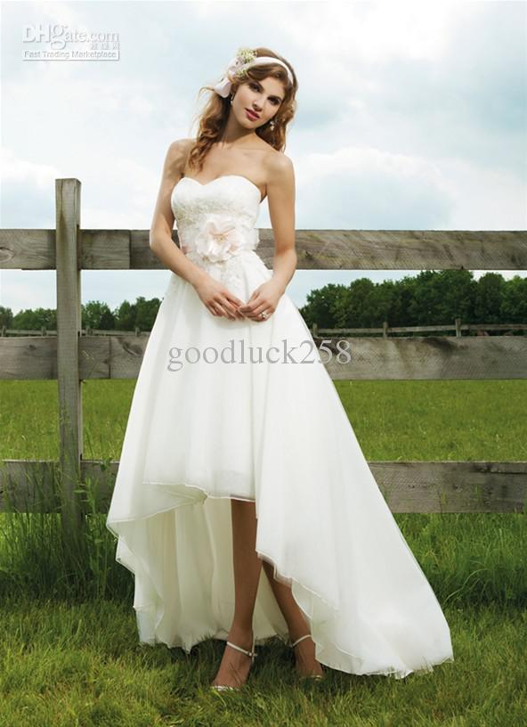Discount Latest High Low Hemline Style Wedding Dresses Short