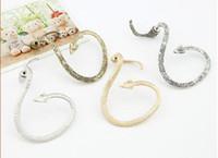Wholesale Snake Style Ear Stud - Wholesale-Piece Vintage Style Silver Tone Temptation Snake Ear Cuff Wrape Earrings Cuff Jewelry LY9