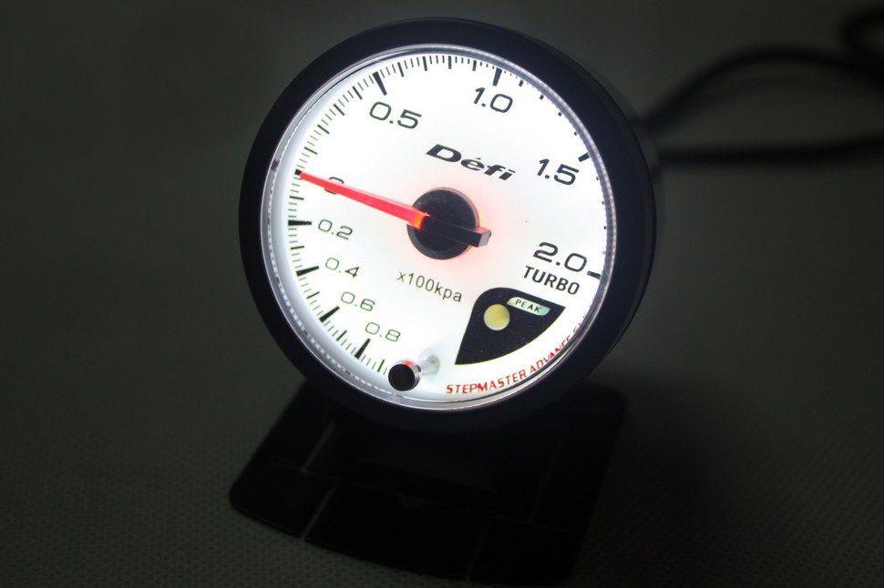 NOUVEAU 60mm DEFI Style de compteur CR moteur pas à pas BOOST TURBO BAR JAUGE / AVEC CAPTEUR Jauge / Auto Meter