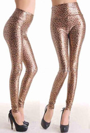 Wholesale Tight Leather Outfits - Lady's Funky Leopard Faux Leather Outfit Tight Stretch Leggings Pants High Waisted Y7748-1