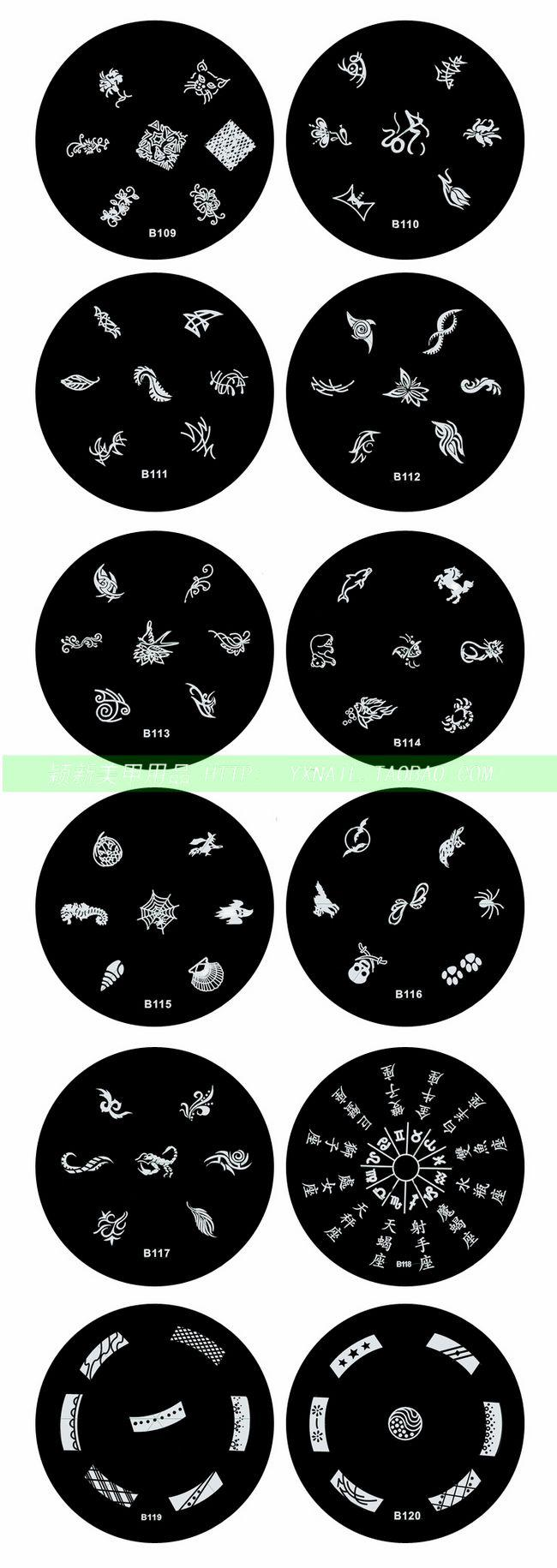 1000x Good quality Stainless Steel Nail Art stamp Stamping Metal Plate Printing Image Plate Design Template 120 Designs