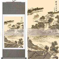 reproductions d'art achat en gros de-Célèbre Paysage Chinois Peintures Suspendu En Soie Fine Art Reproduction L100 x l 35cm 1pcs Gratuit