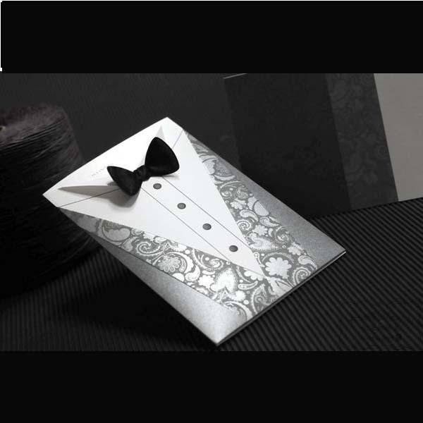 Personalized Groom Tuxedo Invitaions With Bows Wedding Invitation Cards  100pcs Lot