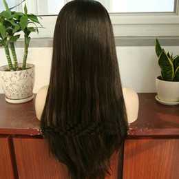 Wholesale Brown Virgin Hair Natural Straight - Human hair wholesale wigs Natural Straight Natural Color virgin Malaysian Hair Silk Top full Lace Wigs