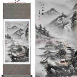 Oriental Landscape Paintings Chinese Silk Scrolls Hanging Painting Decoration Art Painted L100x30cm 1 pezzo gratuito
