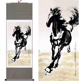 Wholesale canvas paints for sale - Chinese Horse Silk Paintings Famous Hanging Scroll Art Reproduction For Sale L100 x w35cm 1pcs Free