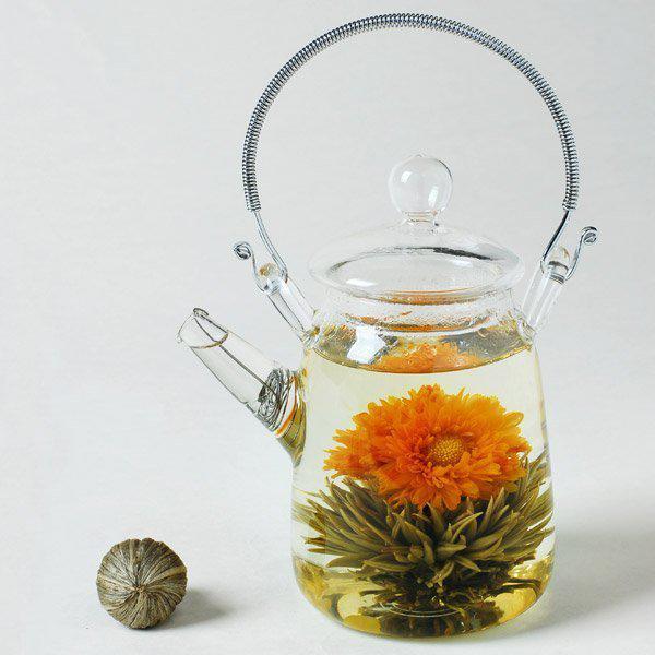 Pot à thé en verre pour thé fleuri avec bec verseur - théière bouilloire 300ml