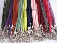Wholesale leather adjustable cord necklace resale online - 3mm inch adjustable assorted Color suede leather necklace cord with lobster clasp pieces