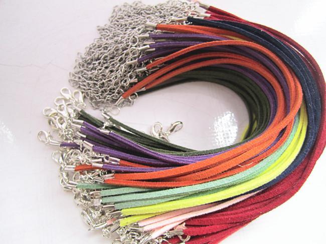 3mm 18-20inch 조정 가능한 모듬 된 컬러 스웨이드 가죽 목걸이 코드 랍스터 버클으로 200pieces / lot