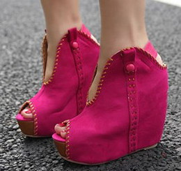 Wholesale Sexy Toes Wedge Shoes - Women's Fashion Ladies Sexy Wedge Boots Open toe Red Sandals Wedges High Heel 4 Colors New Autumn Shoes