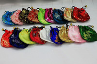 Wholesale Small Drawstring Travel Pouches - Cheap Small Cloth Wedding Gift Bags Drawstring Silk Fabric Jewelry Bracelet Packaging Chinese Travel Storage Pouch Coin Pocket 50pcs lot