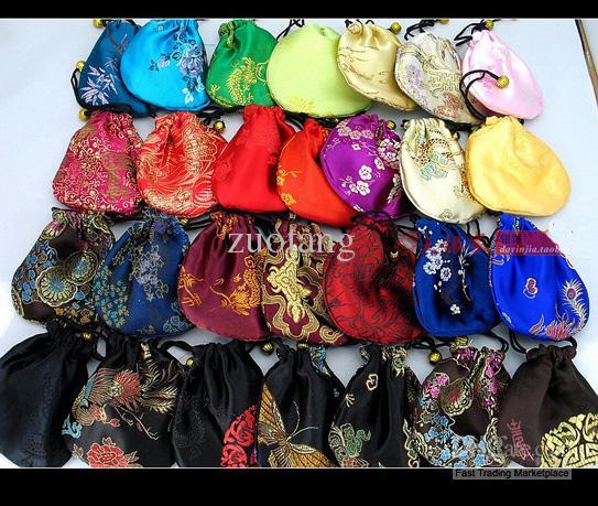 Дешевые небольшой шелк парчи ювелирные изделия сумка для хранения сумка персонализированные китайская ткань шнурок подарочная упаковка монета карман Оптовая 50 шт. / лот