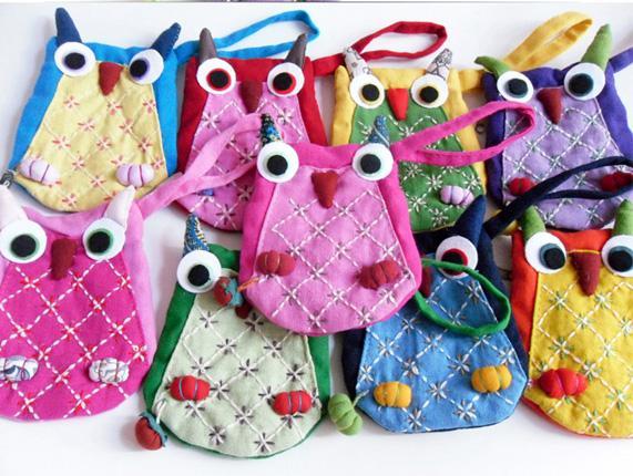 Nette Tiereule-Münzen-Geldbeutel-Taschen-handgemachte Kind-Kind-Reißverschluss-chinesische Baumwollgewebe-Handwerks-Geldbörsen-Taschen-Beutelgröße 9.5x12.5 cm /