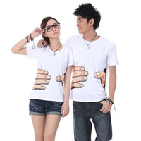 Wholesale Cheap Womens Fashion T Shirts - Summer Fashion Casual T-shirts Street Style Funny Womens Mens Couple White Tshirts Clothes Clothing ladies blouses Cheap upper garments